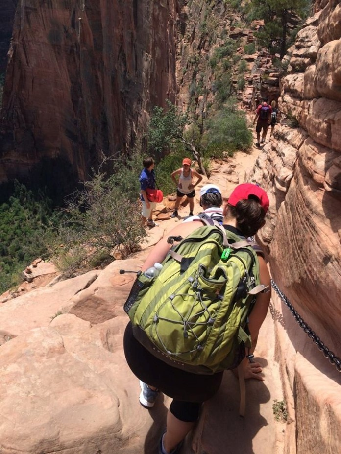 Angel's Landing - Narrow trail with cliff exposures