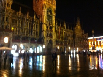 Marienplatz on a rainy night