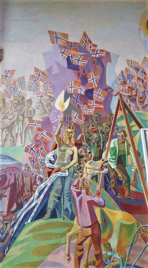 Mural depicting Olso's independence