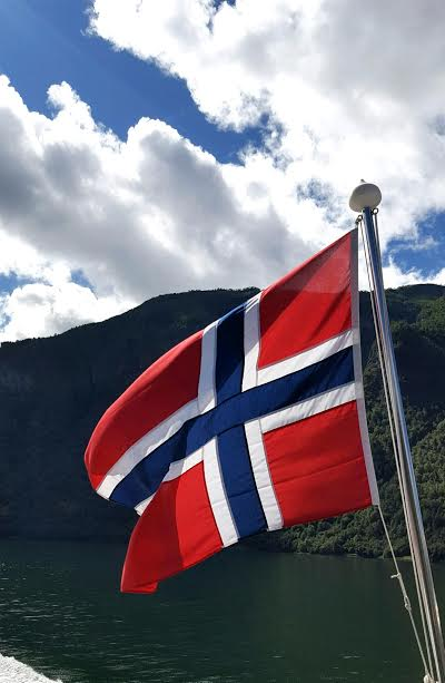 norways flag in the fjords