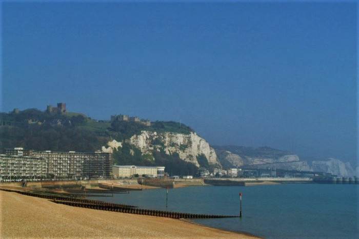 White Cliffs of Dover along the Southern coast of England.