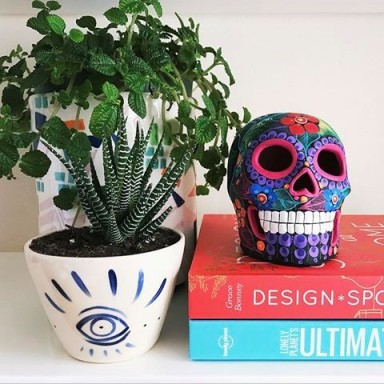 Painted skull purchased from one of the shops on Miguel Hidalgo