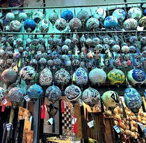 Traditional market hanging globes