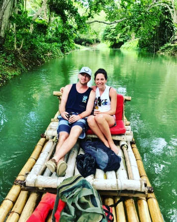 Snuggling on the bamboo raft