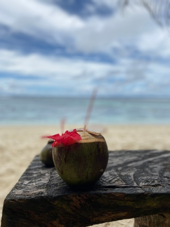 Tropical drinks out of coconuts